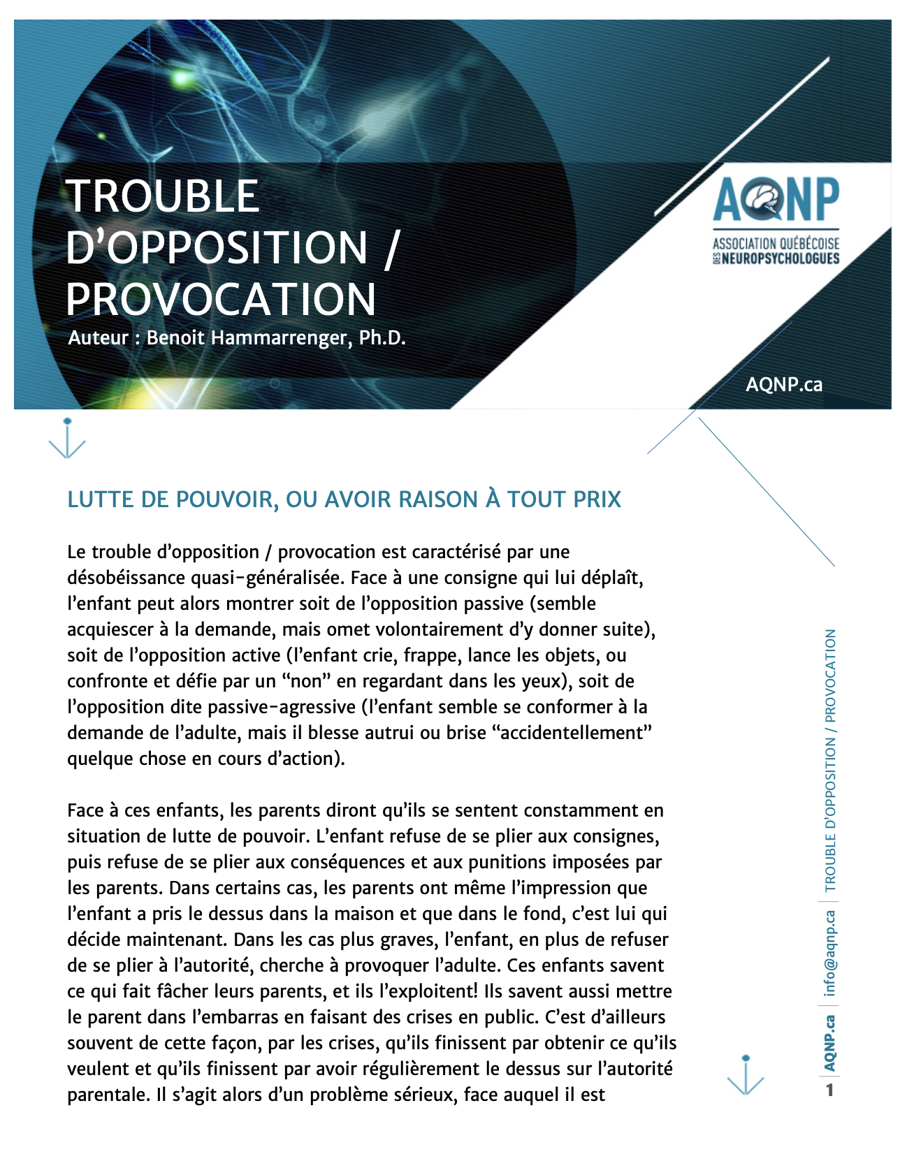 Trouble d'opposition / Provocatio